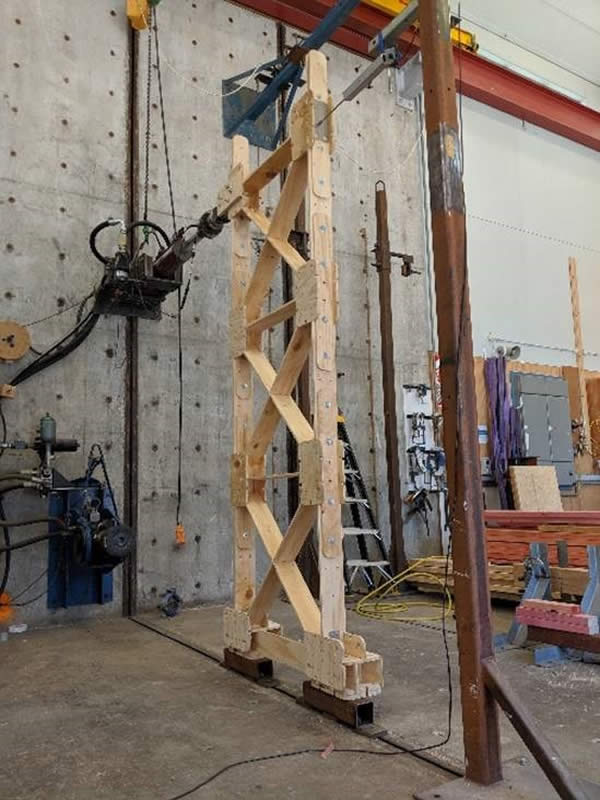 X-Frame earthquake load structural testing at Building Research NZ